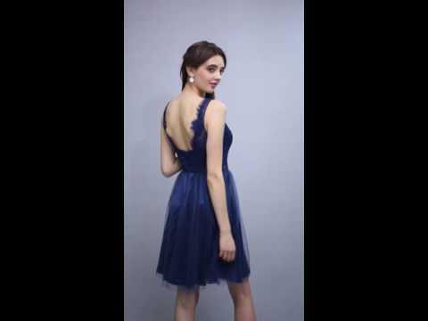 A-line V-neck Navy Blue  Bridesmaid Dress 2016