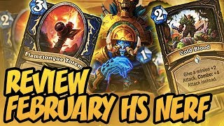 February HS Nerf Review | RIP HS Cards | Hearthstone