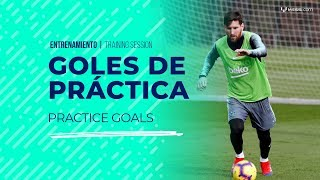 Leo Messi y un show de goles en el entrenamiento