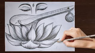 easy saraswati drawing devi step tutorial
