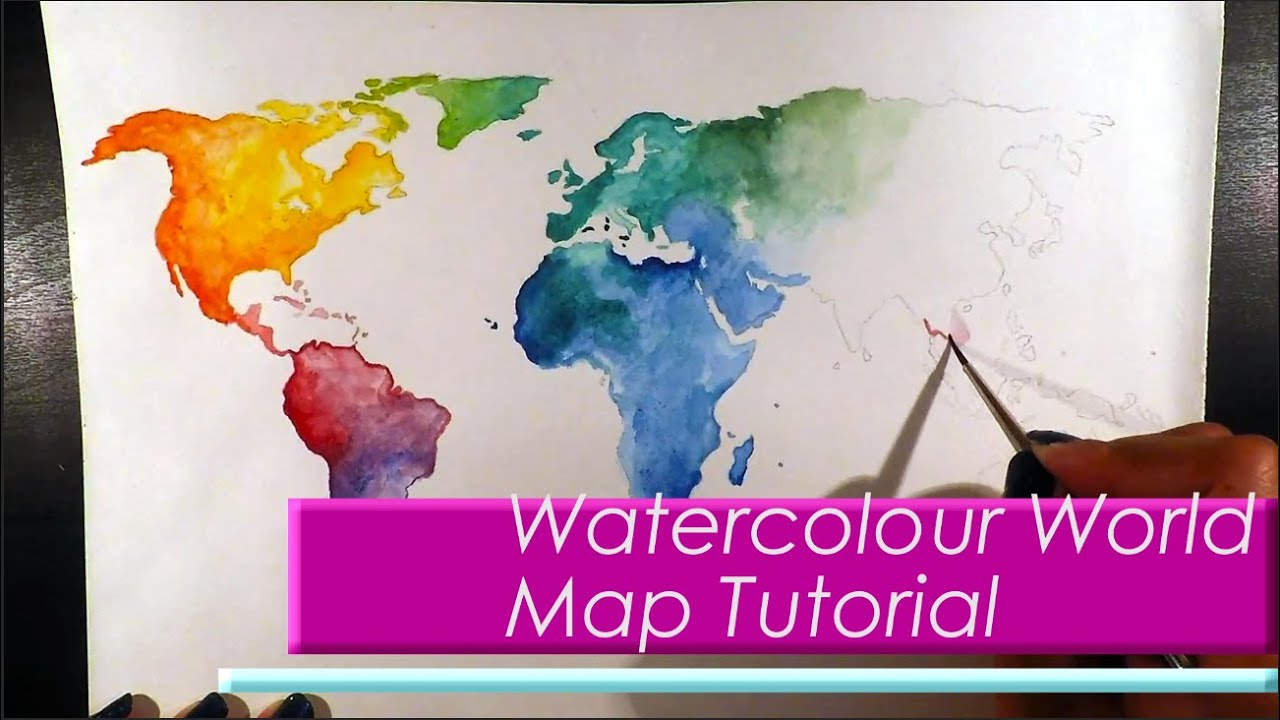 Wanderlust watercolour world map painting tutorial youtube gumiabroncs