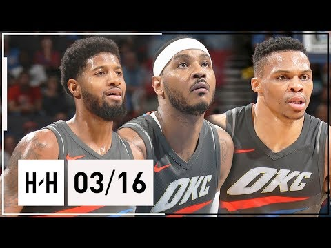 OKC Thunder BIG 3 Full Highlights vs Clippers 2018.03.16 - Russell Westbrook, Paul George & Carmelo