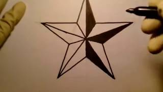 How To Draw A Star Nautical como dibujar una estrella de 5 punta picos en 3d paso a paso Fun 2 Draw(For Those Doubters & Critics No Tracing This Real Time Freehand Video Shows You How To Draw The Perfect Nautical Star From Start To Finish Please ..., 2014-10-17T23:23:09.000Z)