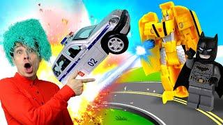 Новое видео с машинками – Трансформер Бамблби и Бэтмен против полиции! - Игры гонки онлайн.