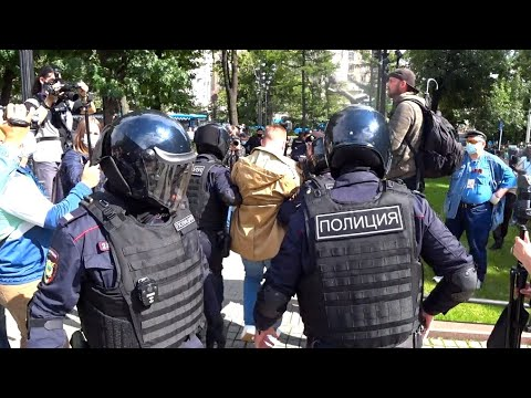 В центре Москвы задержаны 14 человек на акции в поддержку Хабаровска