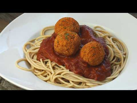 Vegan Italian Veggie Balls with Spaghetti and Sauce