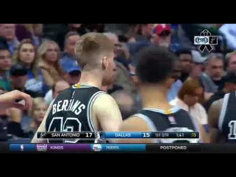 Davis Bertans vs. Mavericks - first quarter 3pts & 2pts - November 30, 2016