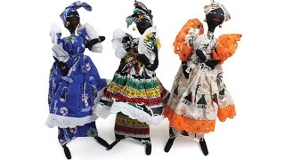 African Doll With African print fabric on stand: LARGE from Africa Imports