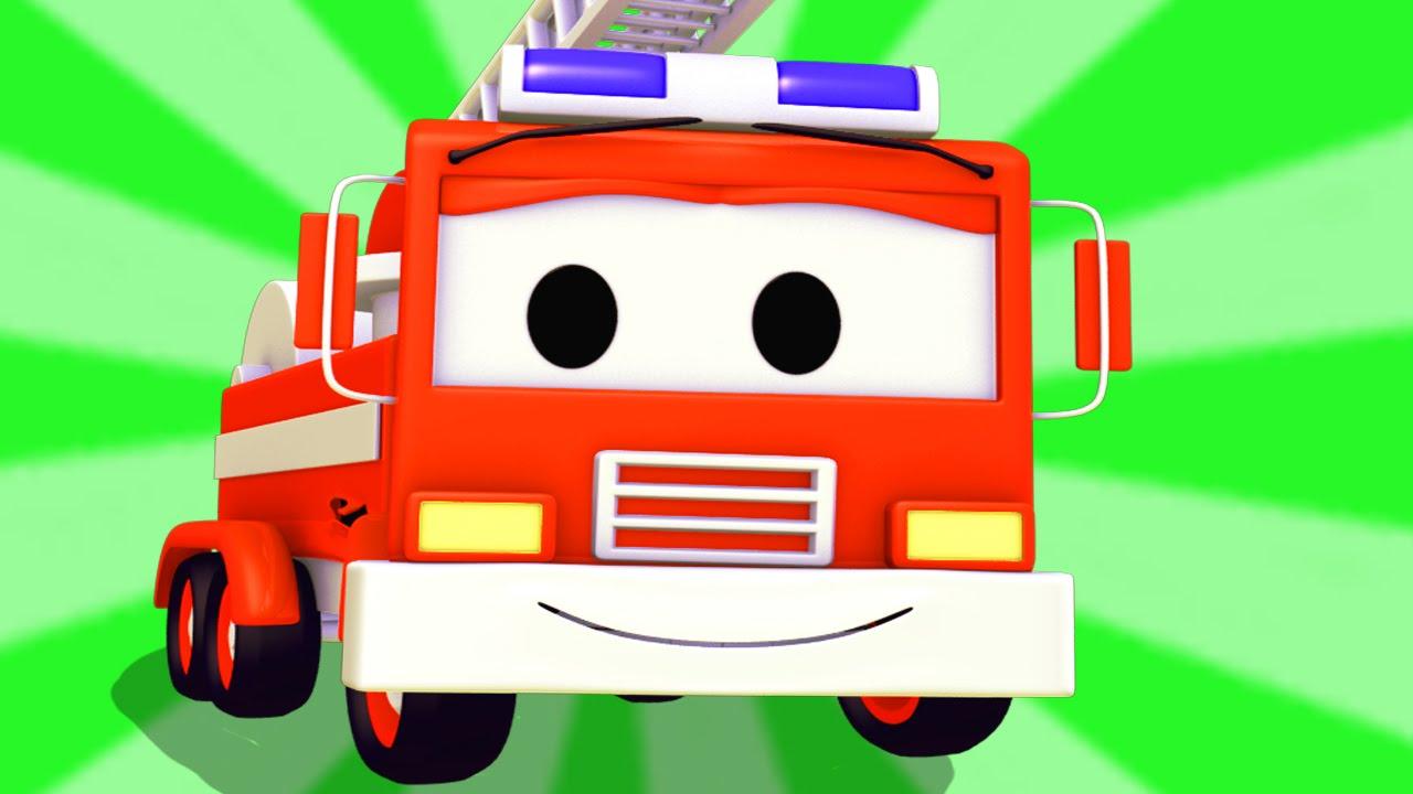 Feuerwehrauto In Car City Autos Lastwagen Cartoon Fûr Kinder