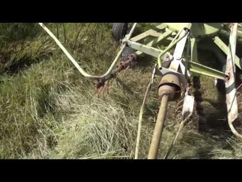 John Deere 70 and a Claas WS380 tedder rake