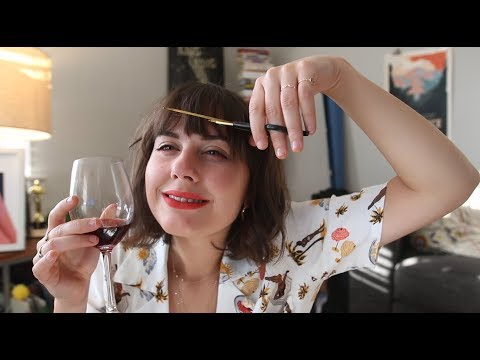 cutting my bangs and day drinking