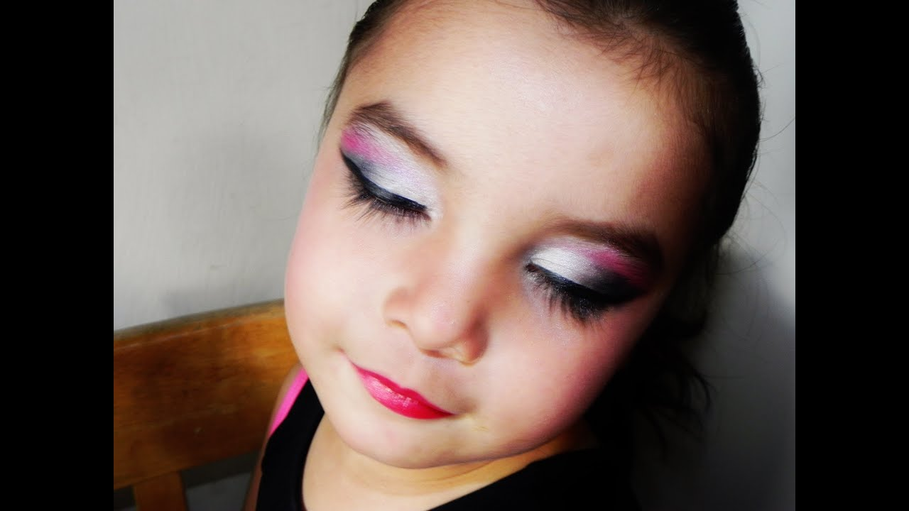 Maquillaje para ni as rosa y plateado folklorico chana Maquillaje para ninas halloween