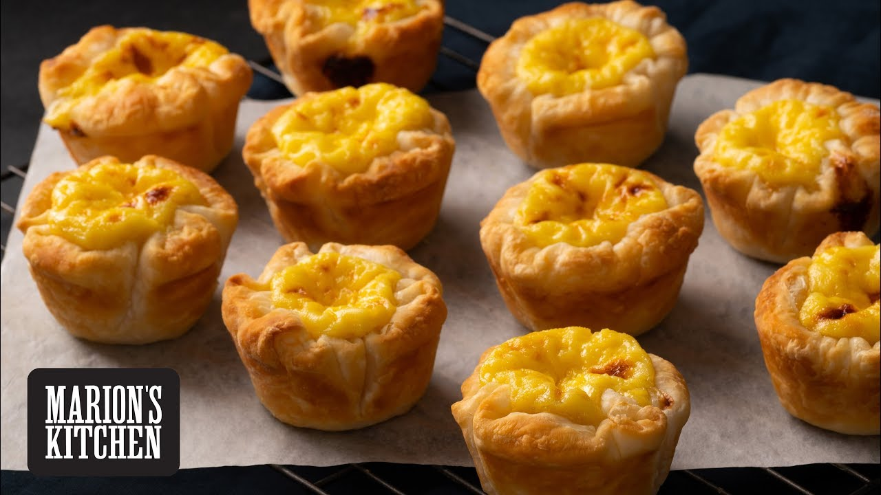 Chinese Egg Tarts with very flaky puff pastry!  - Marion's Kitchen
