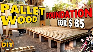 DIY Deck from Wooden Pallet for Shed, Tiny House, Log Cabin Foundation
