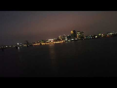WRECK FOOTAGE - Tugboat at Night - Work Barges and Ohio River