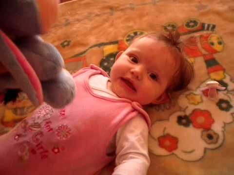 Baby girl laughing with the donkey