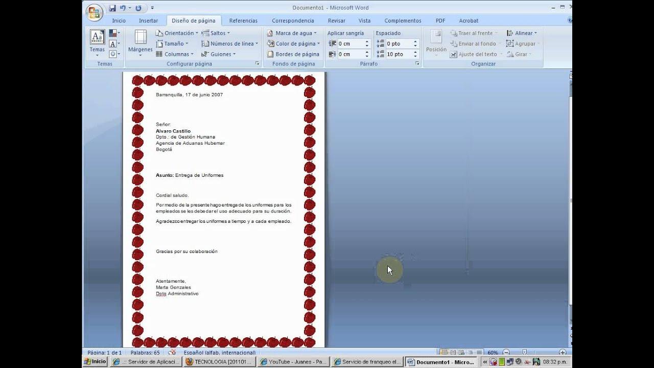 modelo de carta en word flv
