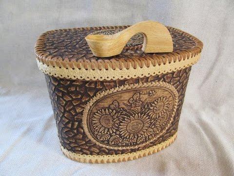 Birch Bark Wooden Bread Box, Russian Handmade
