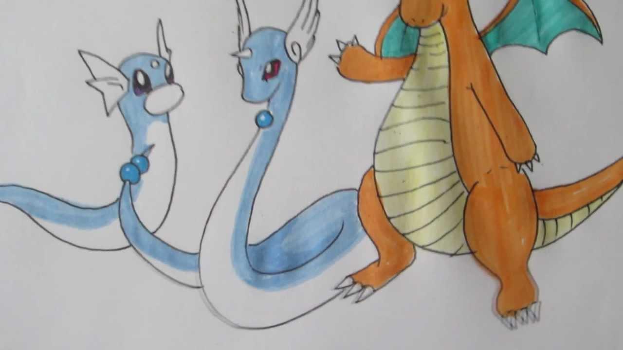 How to draw Pokemon: No.147 Dratini, No.148 Dragonair, No ...  How to draw Pok...