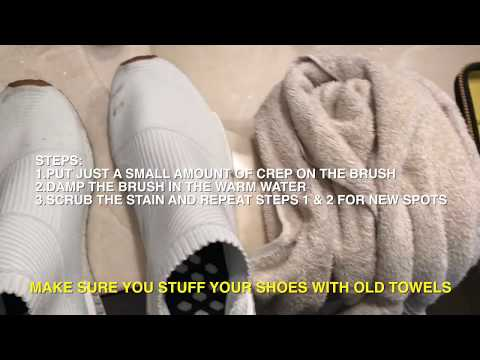 Cleaning Adidas NMD City Sock (CS1) ALL WHITE Sneakers with Crep Cleaner.