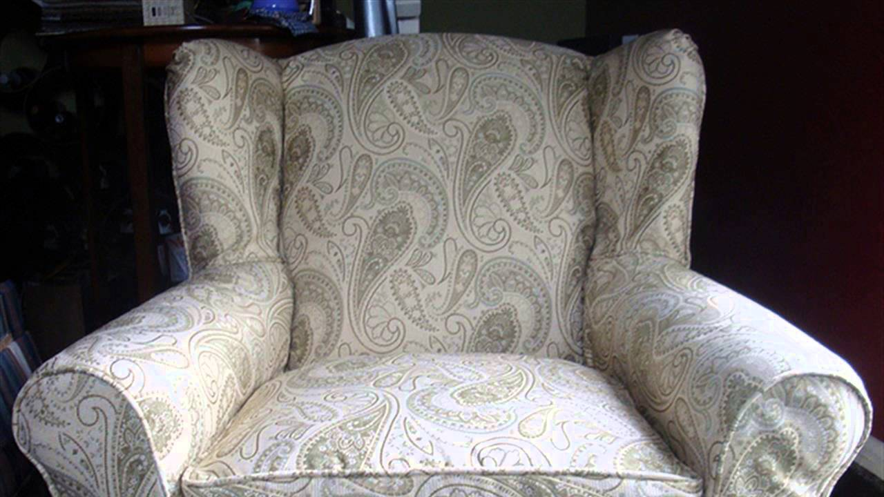 HOW TO : Make A Slipcover For A Wing Backed Chair   YouTube