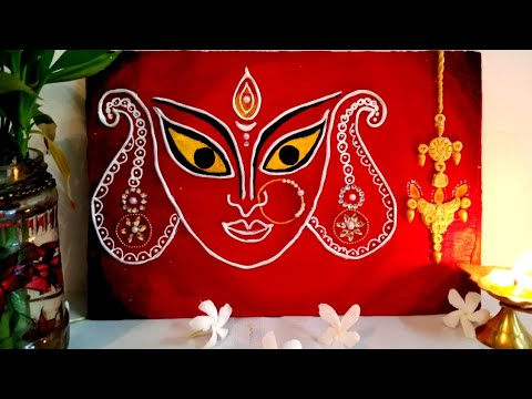Maa Durga Face Mural/ Relief work painting / Indian traditional art