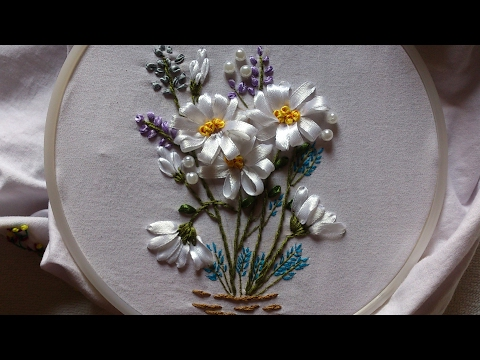 Ribbon embroidery stitches by hand tutorial. Ribbon embroidery designs for cushion covers.