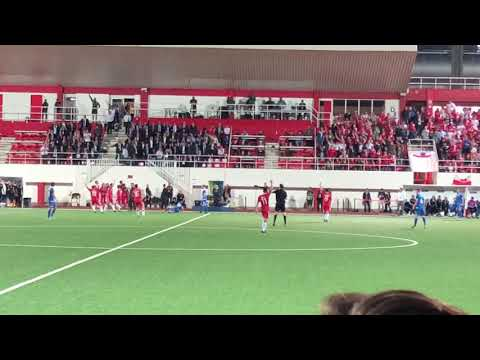 The final whistle and celebrations as Gibraltar get their first ever home win against Liechtenstein