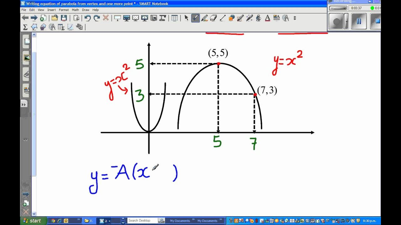 writing equation of a parabola from vertex and one more