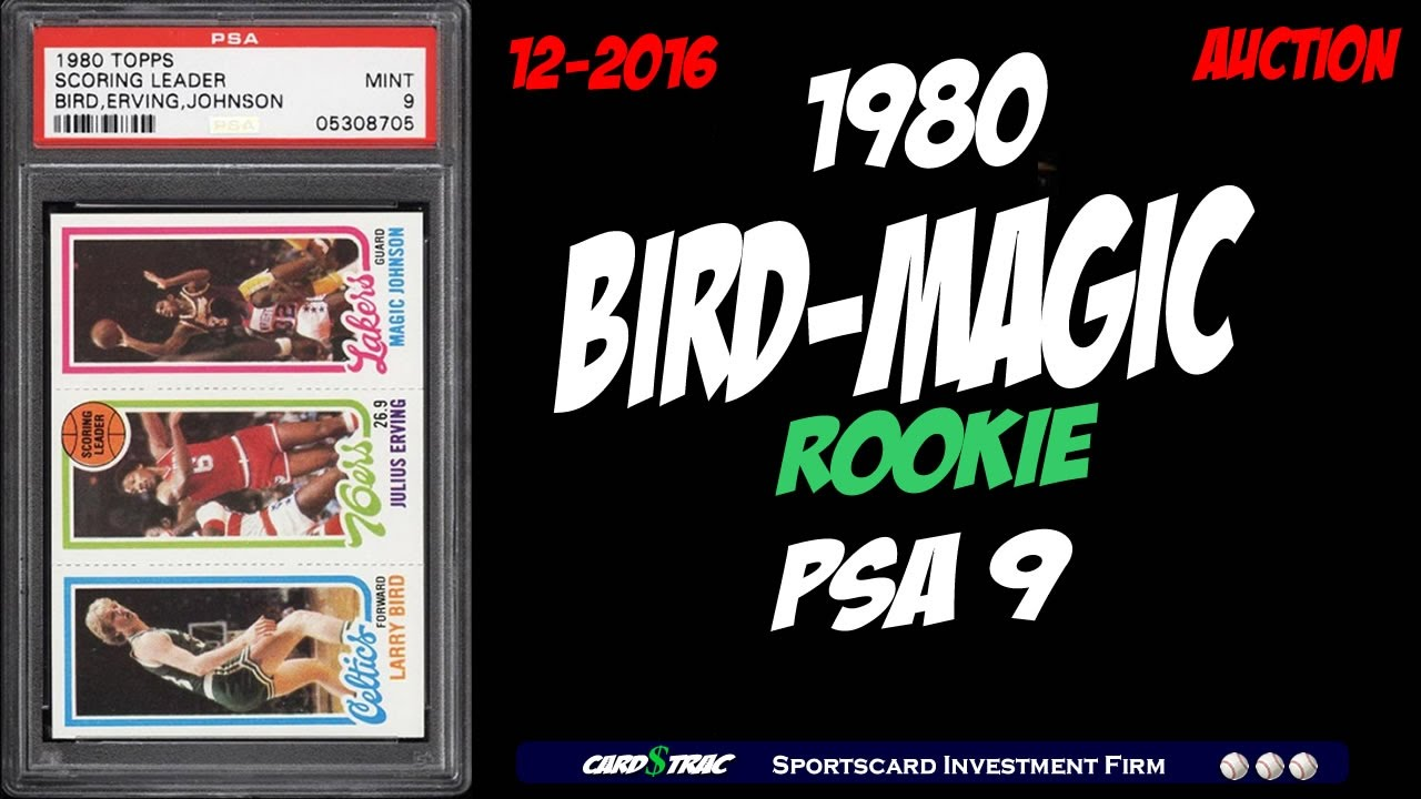 Available A 1980 Larry Bird Magic Johson Rookie Card Graded Psa 9 Mint Larry Bird Rookie Card