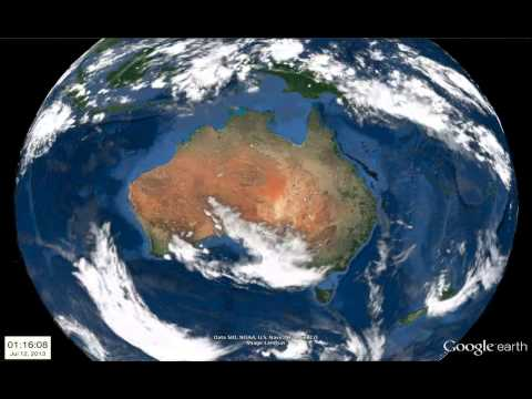 Weather animation from Google Earth - Australia, July 2-17, 2013
