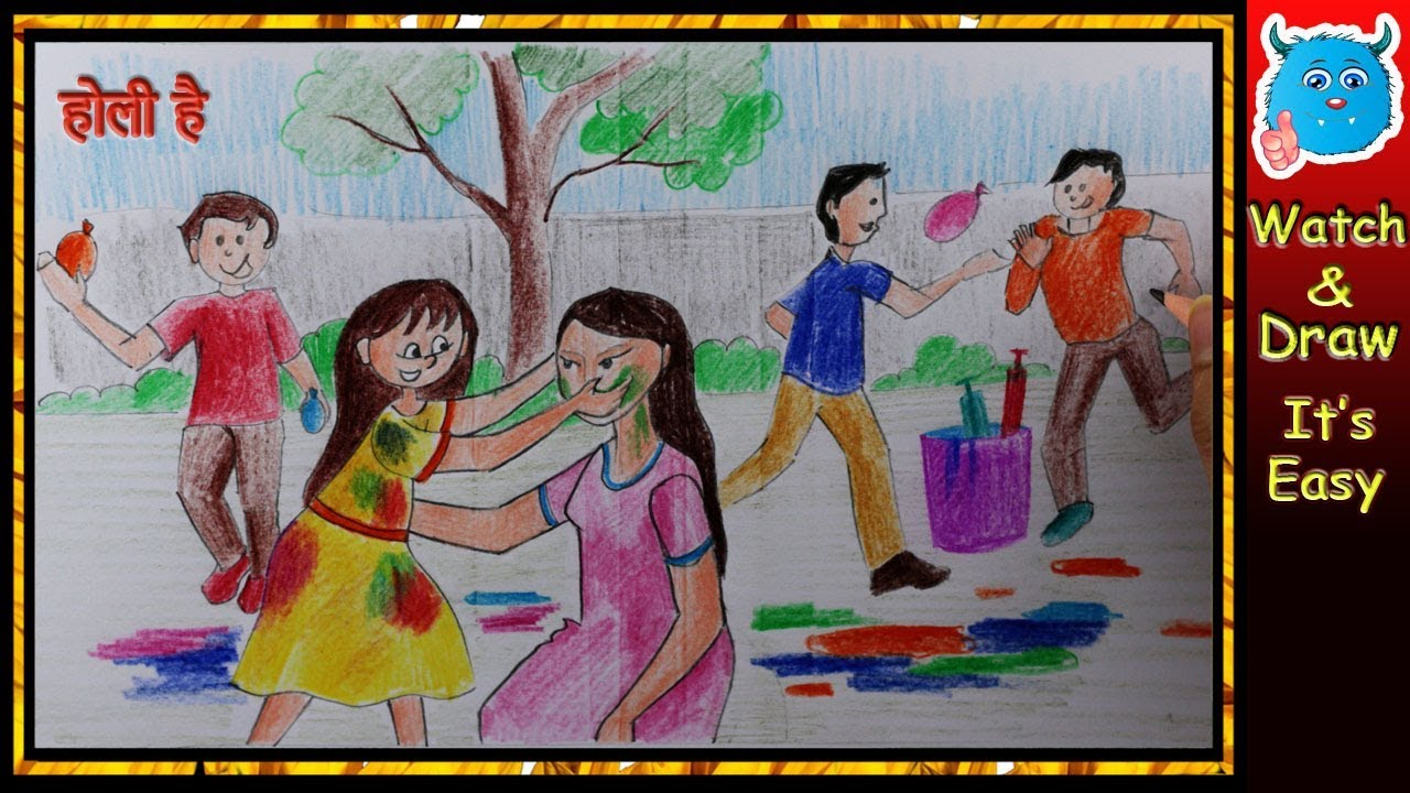 How to draw happy holi scene indian festival drawing for kids