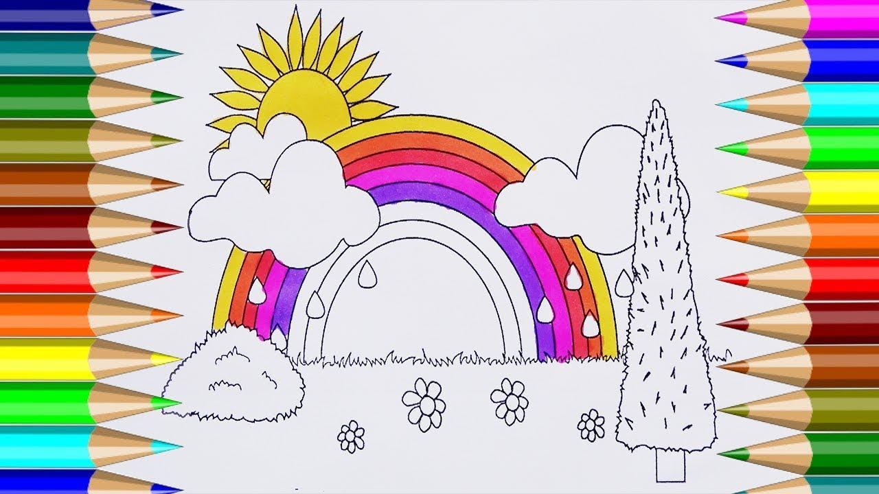 Libro Para Colorear Arco Iris Cómo Dibujar Imágenes Sol Nube