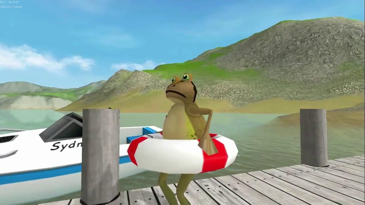大海解说 搞笑青蛙河边游泳遭遇大鲨鱼 第2期