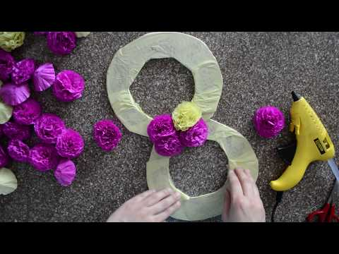 3D Tissue Paper Flowers Number - DIY Birthday Decorations Ideas