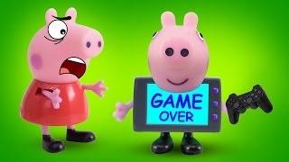 Куклы Свинка Пеппа и Джордж играют в видеоигру. Давайте бесплатно смотреть онлайн мультик