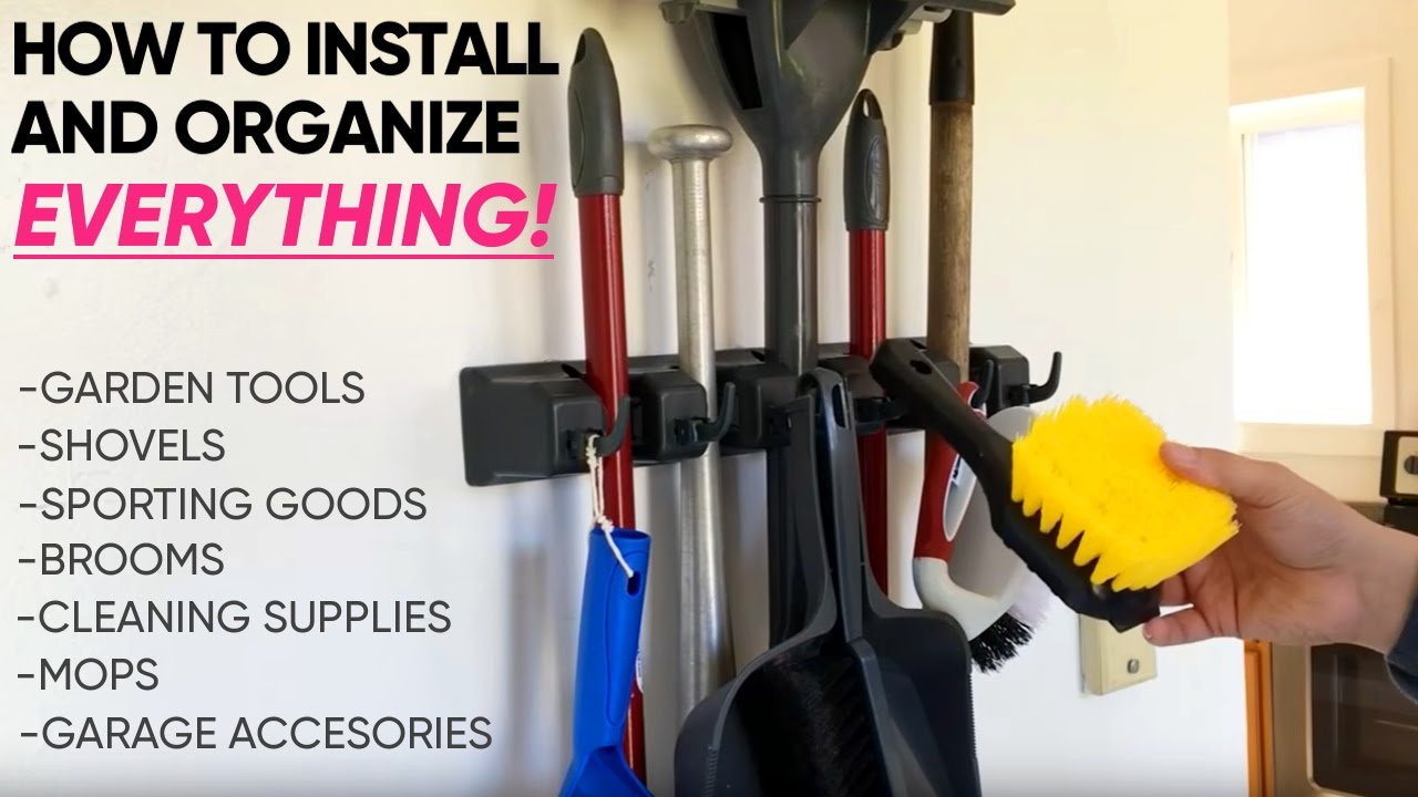 Exceptionnel Broom And Mop Holder   Berry Ave Organizer   How To Install The BEST  Storage Solution   Garden Tools