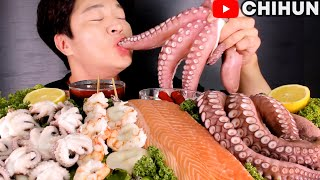 GIANT SALMON & OCTOPUS 🐟🐙 SHRIMP SQUID STICK | POPULAR SEAFOOD BOIL & SASHIMI MUKBANG EATING SHOW