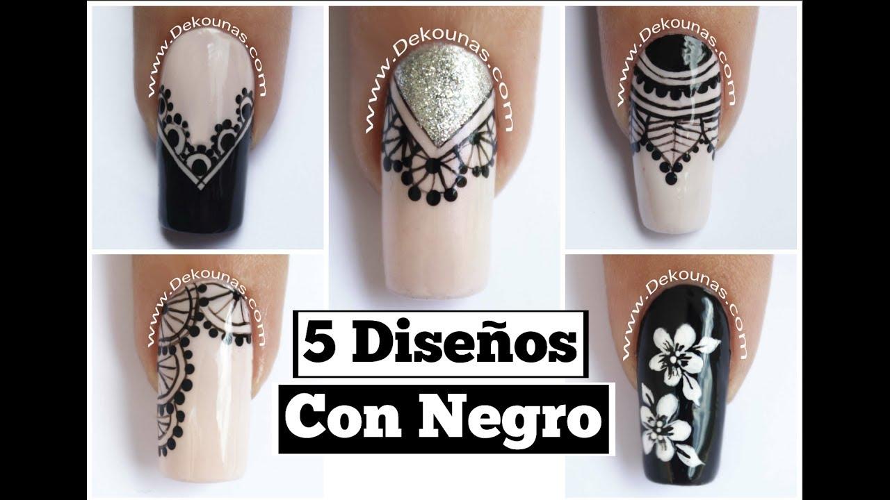 5 Disenos De Unas Facil Con Negro Easy Black Nails Youtube