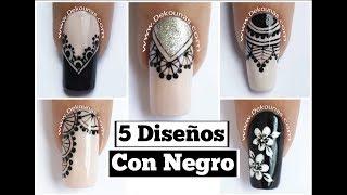 5 Diseños de uñas FACIL con negro - Easy black nails thumbnail