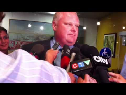 Toronto Mayor Rob Ford reacts to the death of NDP leader Ja