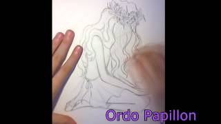 How to draw a girl sitting on the floor + glow effect time-lapse