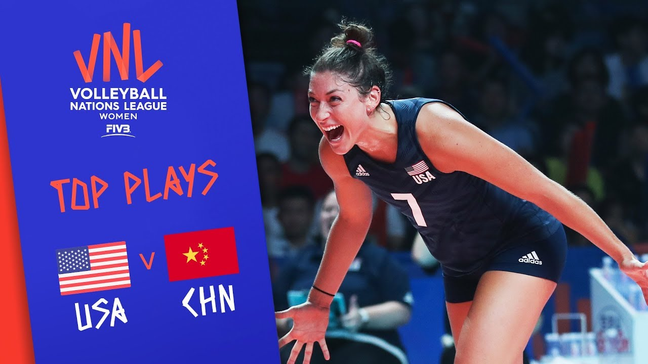 USA vs  China - Top Plays | Women's Semifinal | FIVB Volleyball Nations  League 2019