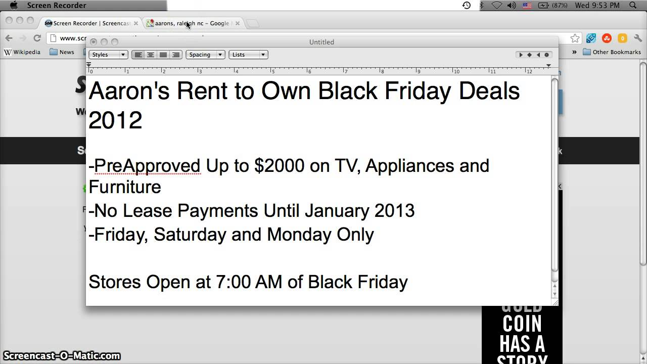 Aarons Rent To Own First Month Free Deal On TVs, Laptops And Appliances    Black Friday 2012   YouTube