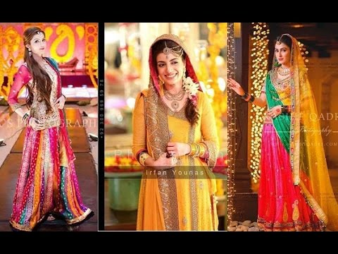 Mehndi Clothes For Brides : Latest pakistani designer mehndi dresses 2017 for brides youtube
