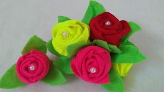 Rosa em Feltro – Fácil e rápida