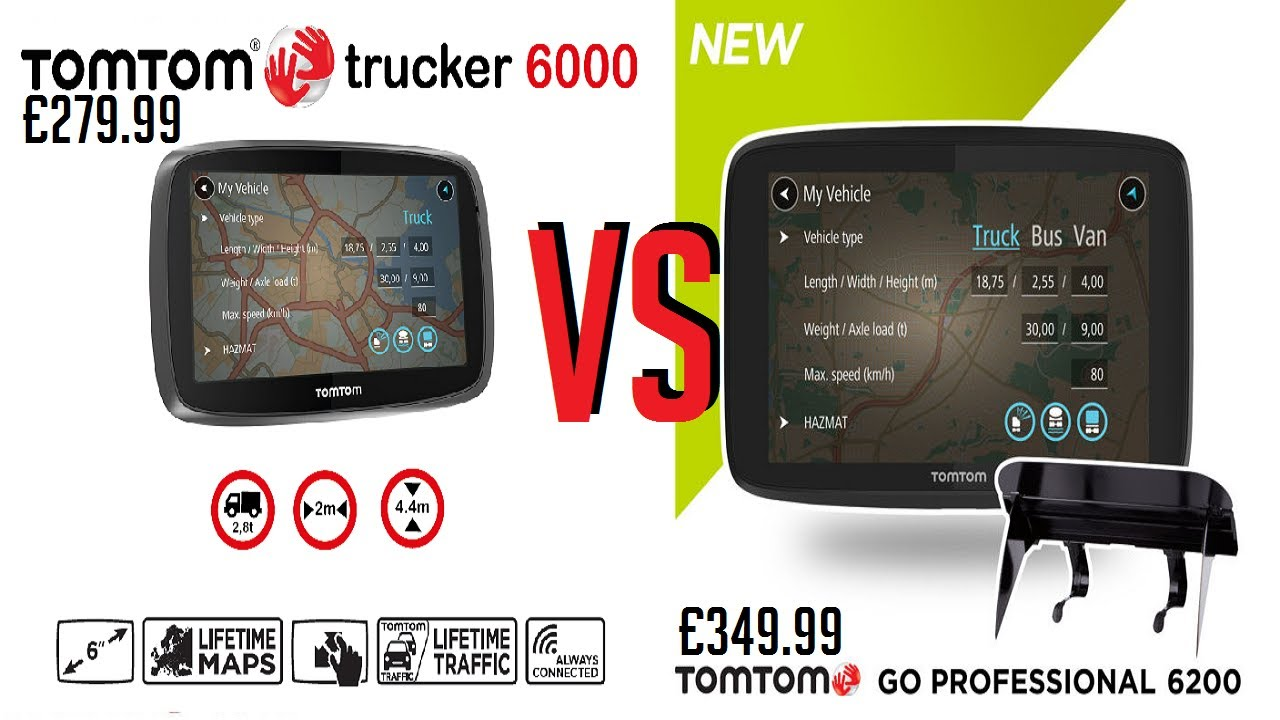 tomtom go professional 6200 vs tomtom trucker 6000 youtube. Black Bedroom Furniture Sets. Home Design Ideas