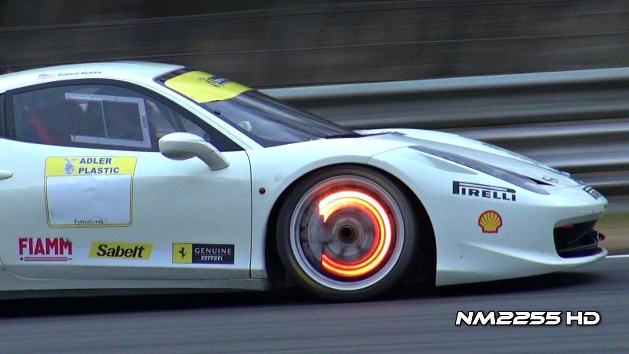 Ferrari 458 Challenge Glowing Brakes On Track Youtube