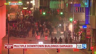 Coverage of downtown Grand Rapids protest, unrest