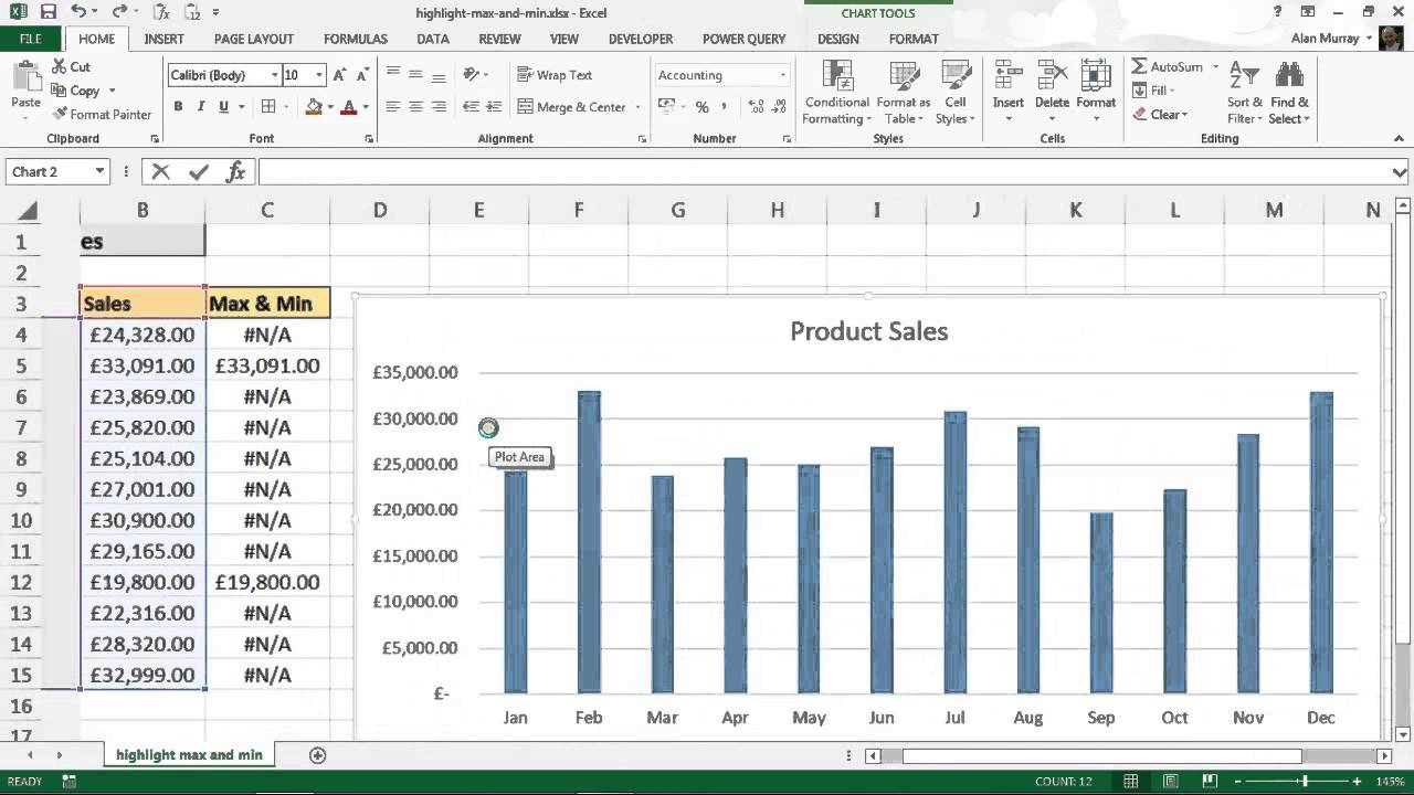 Highlight max and min values on column chart youtube ccuart Choice Image
